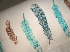 wild bird feathers lumbar pillow case by giardino on Etsy, $40.00