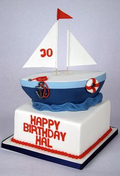 BC4130 - sailboat 30th birthday cake toronto by www.fortheloveofcake.ca, via Flickr