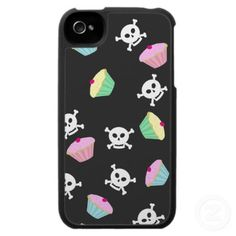 Cupcakes & Skulls Emo Kawaii Pattern Iphone Case by Artform the Heart