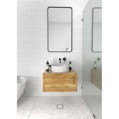 Glass Warehouse Radius Corner Modern & Contemporary Bathroom/Vanity Mirror Finish: Satin Brass, Size: x Corner Bathroom Mirror, Wall Mirror With Shelf, Framed Mirrors, Framed Wall, Master Bathroom, Vanity Mirrors, Bathroom Plans, Bathroom Ideas, House