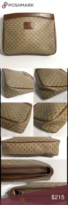 """Authentic vintage Gucci clutch No lowballing, no trade!  Material: Gucci signature fabric, leather trims     Measurements: L 9"""" x H 7"""" x W 1.57""""    OK condition with signs of regular use  Monogram canvas shows few minor scratches on some areas. Small ink marks, rub marks, wrinkles on the leather trims. Rubbing on the corners and piping.  It seems like shoulder strap has been cut off.    Interior lining shows scratches, rub marks, few small marks.   Please see pictures for visual details…"""