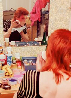 vintage vixen obsessed, soundsof71:   David Bowie making up, 1973, by Mick...