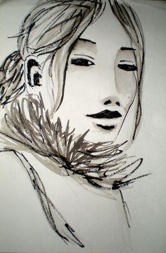 """Portrait d'après """"Femmes du monde"""" de Titouan Lamazou : encre de chine"""