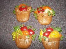 4 Vintage Sexton 1978 Metal Fruit/Vegetable Basket Wall Plaques Hangings