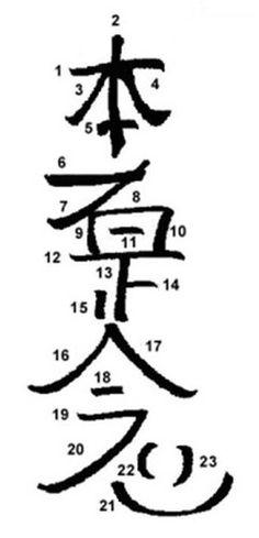 Símbolos de REiki – Hon Sha Ze Sho Nen - S. Miguel Terapias ~~  «Esta (Hon) pessoa (Sha) justamente (Ze) corrige/ajusta (Sho) pensamentos/sentimentos (Nen)». Sobre o nome dito do símbolo, há quem chame a isso um kotodama ou quem chame um jumon. Kotodama pode significar a alma da palavra e jumon é um encantamento, típico do budismo esotérico.
