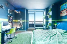 star wars themed room. The Pokemon prints on the wall