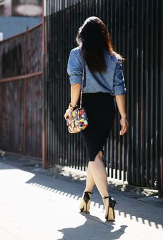 Black pencil + bright multicolor small bag