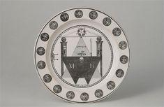 Assiette, décor maçonnique : symbole, décor monochrome
