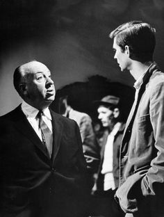 Alfred Hitchcock & Anthony Perkins on the set of Psycho (1960)