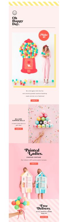 Who says Halloween emails can't have millennial pink? This Oh Happy Day email uses modules to build a gradient background.