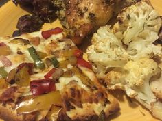 Can frozen pizza taste good?  Definitely can thanks to #bonappetitpizza happy with this roasted veggie selection paired with home made herb roasted chicken and roasted cauliflowers #savorthemoment #gotitfree