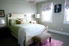 A SALTBOX: Green ikat bedding, Restoration Hardware sycamore green paint, flokati rug.