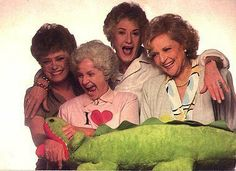 "Another cute promotional still. I get the whole Florida/alligator connection, I guess. Still, a little weird. At least they all look pretty happy and natural (except poor Bea who's trying really hard). I wonder what Estelle's t-shirt ""loves""? I Love Girls, These Girls, My Love, Golden Girls Quotes, The Golden Girls, Blanche Devereaux, Estelle Getty, La Girl, Betty White"