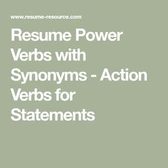 resume power statements