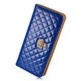 Augur Women's Lady Leather Purse Credit Card Clutch Holder Long Zipper Wallet Handbag handbag Dark Blue