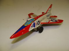 1960's NAVY F11F-1 USA Jet Fighter Airplane Japanese Tin litho friction Sabre