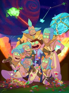 "Council of Ricks just admiring their Morty…w-while their society is ending. Idk, I just enjoyed watching the first episode of Season 3 of Rick and Morty okay X""DD I really wanted to see Lawyer Morty's pog collection too ; w ; AGH!! Love this show I..."