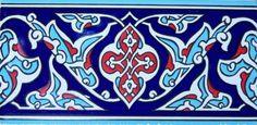 "Floral Geometric 50 4""x8"" 10cmx20cm Turkish Navy Red Iznik Ceramic Tile   eBay"