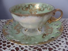 Royal Sealy Cup & Pierced  Saucer Made in Japan Green and white lustre Gold