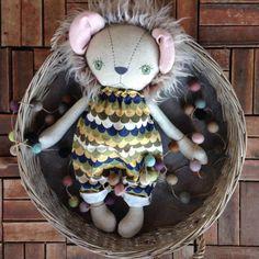 Leopold Green eyes  OOAK Lion Heirloom Cloth by PeanutAndElliott