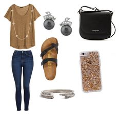 """""""love this outfit"""" by crcorzine on Polyvore featuring H&M, Topshop, Kendra Scott, Birkenstock, Lancaster and Case-Mate"""