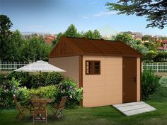 kinying outdoor plastic sheds provide a variety of solutions for all of your home and garden storage needs. Plastic Sheds, Mobile House, Small Sheds, Outdoor Storage Sheds, Storage Spaces, Gazebo, Villa, Home And Garden, Camping