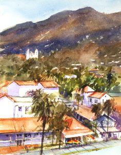 Sherry Schmidt - Plein air watercolor at the Santa Barbara Courthouse