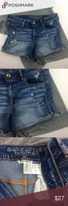 """American Eagle Hi-Rise Shortie stretch Denim short Preowned great condition, no holes or stains. All holes and distressing by design. Color: Denim blue   Size:14  Measurements: Flat across at waist is approximately 16 1/2 inches. Inseam is approximately 5 inches. Front rise is approximately 10 3/4 inches. Length at side seam is approximately 14 inches. """"Super Stretch"""" Materials: see photo of tag. American Eagle Outfitters Shorts Jean Shorts"""