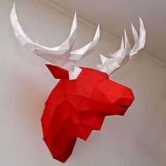 faceted paper animal head moose diy
