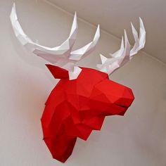 faceted paper animal head moose diy