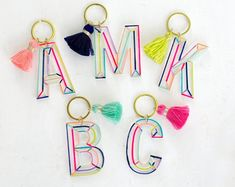 Initial keychain with tassel, Personalized Rainbow letter keychain - personalized gift, bridesmaid gifts, clear monogram keychain Monogram Keychain, Cute Keychain, Tassel Keychain, Letter Monogram, Resin Crafts, Resin Art, Tape Crafts, Diy Crafts, Creeper Minecraft