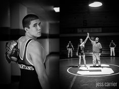 Black and White Wrestling Senior Photo (Great Idea, if you can sneak in before the match and have the ref and coaches pose too!) such a cool idea! Wrestling Senior Pictures, Senior Year Pictures, Senior Pictures Sports, Sports Photos, Senior Photos, Senior Session, Senior Posing, Fall Pictures, Senior Portraits