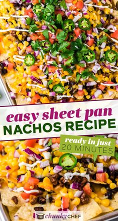 These Sheet Pan Nachos are completely loaded with beef, black beans, cheese, onions, and all the toppings you could want! So easy to make in just 20 minutes and are perfect for any party! #nachos #beef #loaded #mexican #easyrecipe #sheetpan #appetizer #partyfood