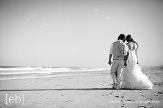 bride and groom on the beach - b & w (photo: eric boneske)