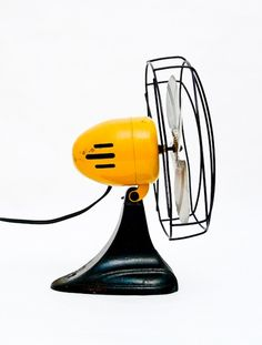 Vintage Fan - Yellow and Black: Vintage Fan in Black, White, and Yellow