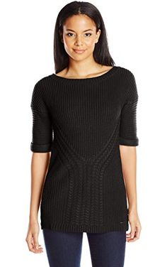 Calvin Klein Jeans Women's Traveling Cable Short Sleeve Tunic, Black, Large ❤ Calvin Klein Jeans Women's Collection