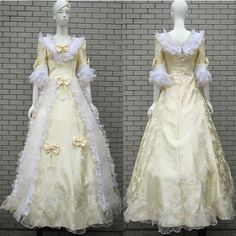 Gold Lace Victorian Fashion Clothing Wedding Ball Gown Dress Costume SKU-0040102