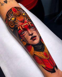 Traditional Tattoo Portrait, Traditional Tattoo Design, Traditional Tattoo Animals, Cool Forearm Tattoos, Forearm Tattoo Design, Leg Tattoo Men, Animal Sleeve Tattoo, Sleeve Tattoos, Neo Tattoo