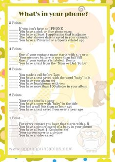Owl Themed Baby Shower Game What Is in Your Phone