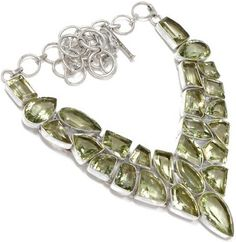 #Jewelry Sterling Silver 120 Carat Green Amethyst Natural Necklace