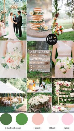 Paleta em tons de verde e rosa chá - para casamentos diurnos. | Green and blush for outdoor wedding