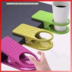 Drink Cup Coffee Holder Clip-on.  I have one of these, and love it!  It only works on a thin desktop, though.