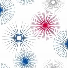 Jazz Red/Blue (532906) - Arthouse Wallpapers - A star-burst circle retro pop art style geometric design. Shown in red, blue and silver on white. Please request sample for true colour match.