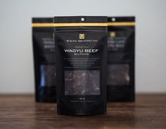 Three bags, 65 g each, 195 g total.Hand-made in small batches using marbled Wagyu Beef, direct to us from Ningaloo Beef in Western Australia. Wagyu Beef, Biltong, Food Displays, Beef Jerky, Open Window, Pet Food, Food Packaging, Packaging Design Inspiration, High Road