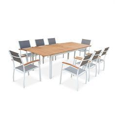 Delphes Table de jardin lattes asymétriques et pieds traineaux à ...