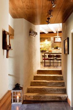 Indoor stone steps - wood ceiling  - materials.