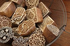 One of my favorite finds in India. Hand carved wooden blocks used for fabric stamping.