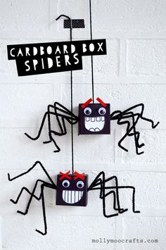 cardboard box halloween spiders craft for kids