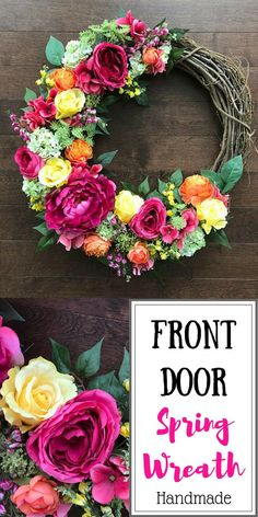 Spring Wreaths for Front Door, Mothers Day Gift Ideas, Spring Wreath, Gift For Mom From Daughter, Sp Wreath Crafts, Diy Wreath, Diy Crafts, Wreath Ideas, Spring Decoration, Mothers Day Wreath, Diy Gifts For Mom, Diy Door, Summer Wreath