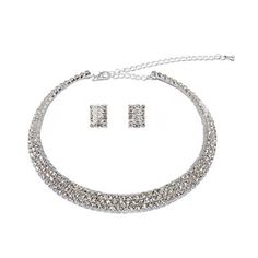 Bright Alloy Silver Plated With Rhinestone Wedding Bridal Jewelry Set - USD $ 11.79